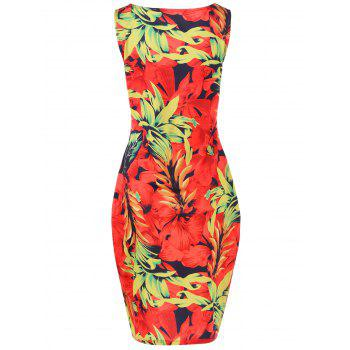 Plus Size Twist Dress Floral avant - Rouge XL