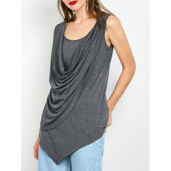 Cowl Neck Overlay Asymmetrical Tank Top
