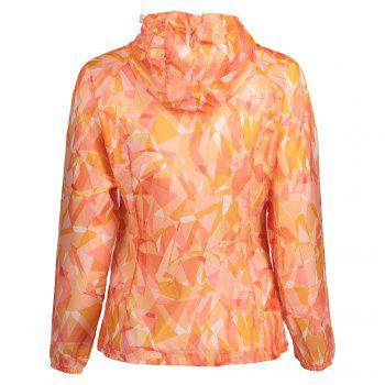 Hooded Printed Lightweight Skin Windbreaker - ORANGE L