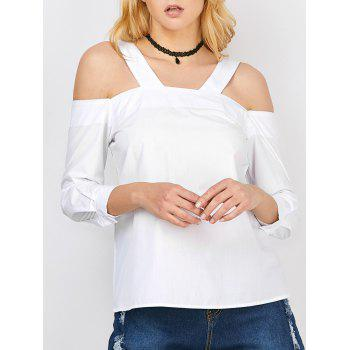 Zipper Design Cold Shoulder Blouse