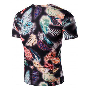 Feather Imprimer V Neck T-Shirt - multicolorcolore 3XL