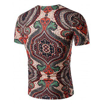 Tribal Print V Neck T-Shirt - multicolorcolore 3XL
