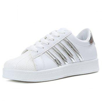 Colour Block Shell Toe Athletic Shoes - SILVER 38