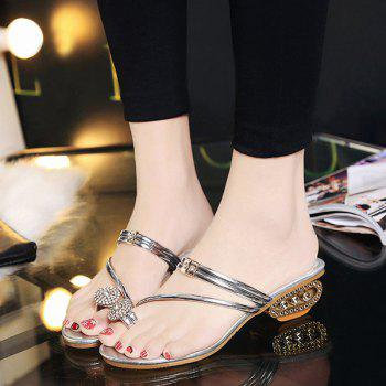 Toe Ring Metal Colour Slippers - 38 38