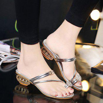 Toe Ring Metal Colour Slippers