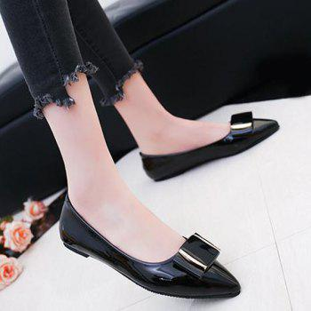 Patent Leather Metal Flat Shoes