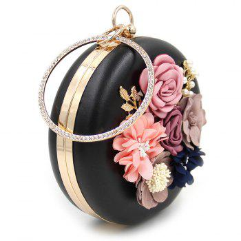 Flowers Round Shaped Evening Bag - BLACK