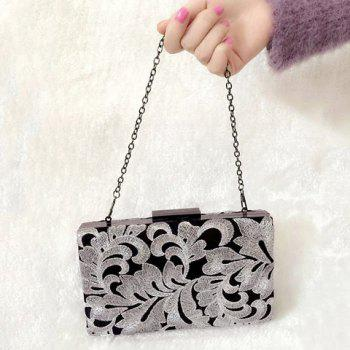 Embroidered Clutch Evening Bag - SILVER