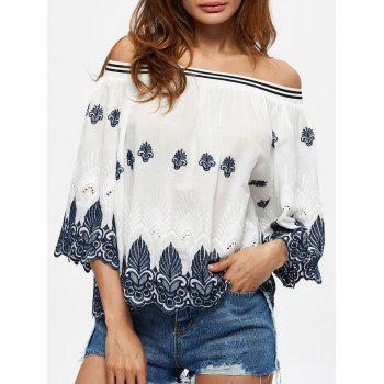 Embroidered Scalloped Off The Shoulder Blouse