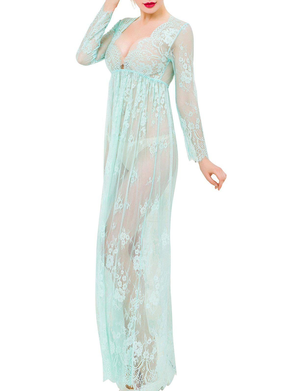 Low Cut Lace Sheer Long Babydoll - LIGHT GREEN M