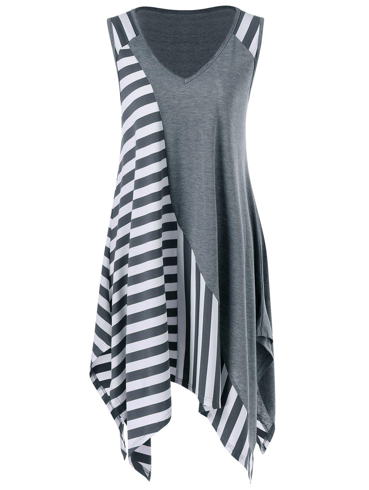 Striped Long Handkerchief Sleeveless Flowy T-Shirt - GREY/WHITE XL