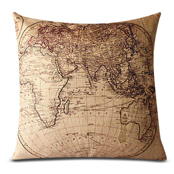 Classical World Map Pattern Decorative Pillowcase(Without Pillow Inner) - KHAKI