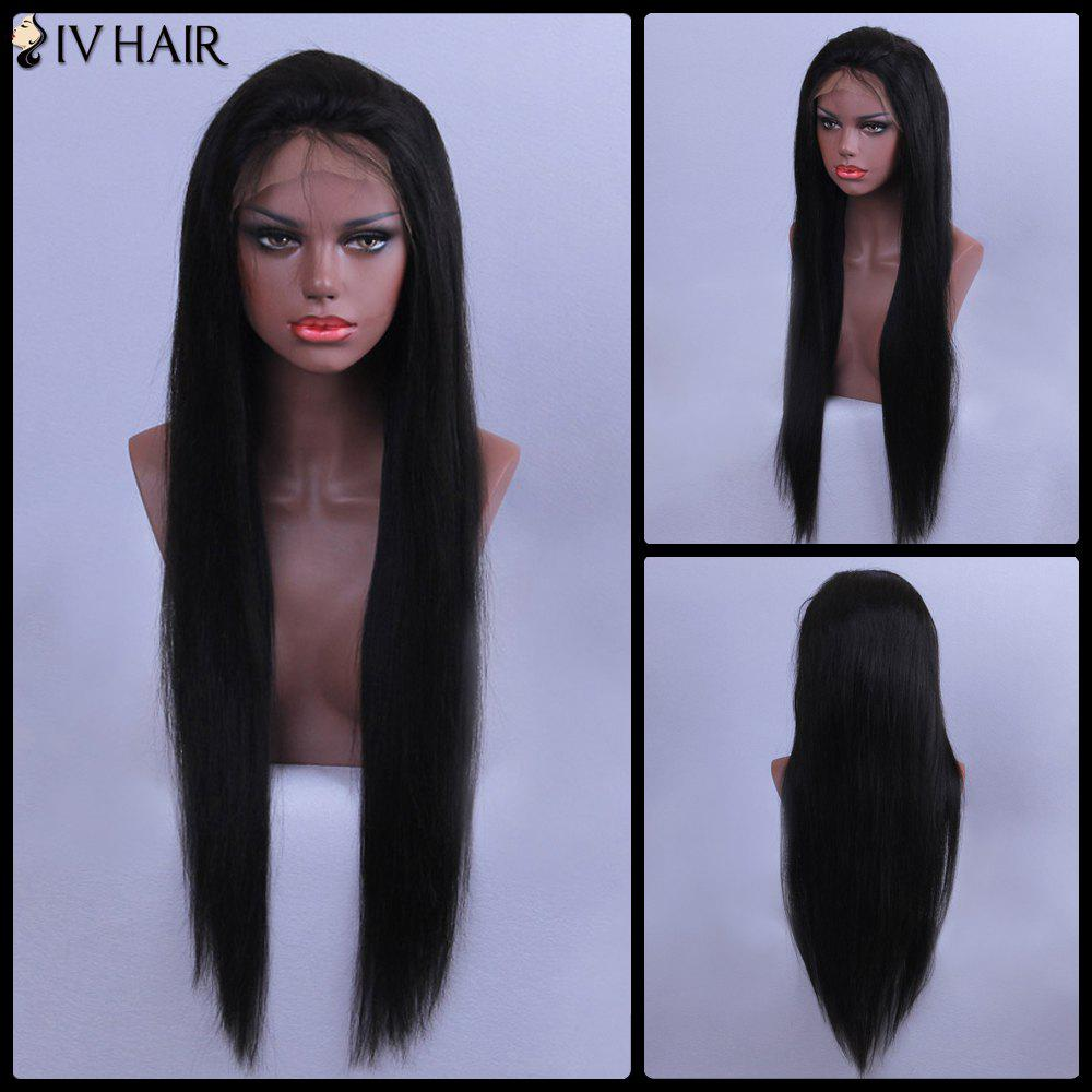 Siv Hair Straight Long Lace Front Human Hair Wig - BLACK 26INCH