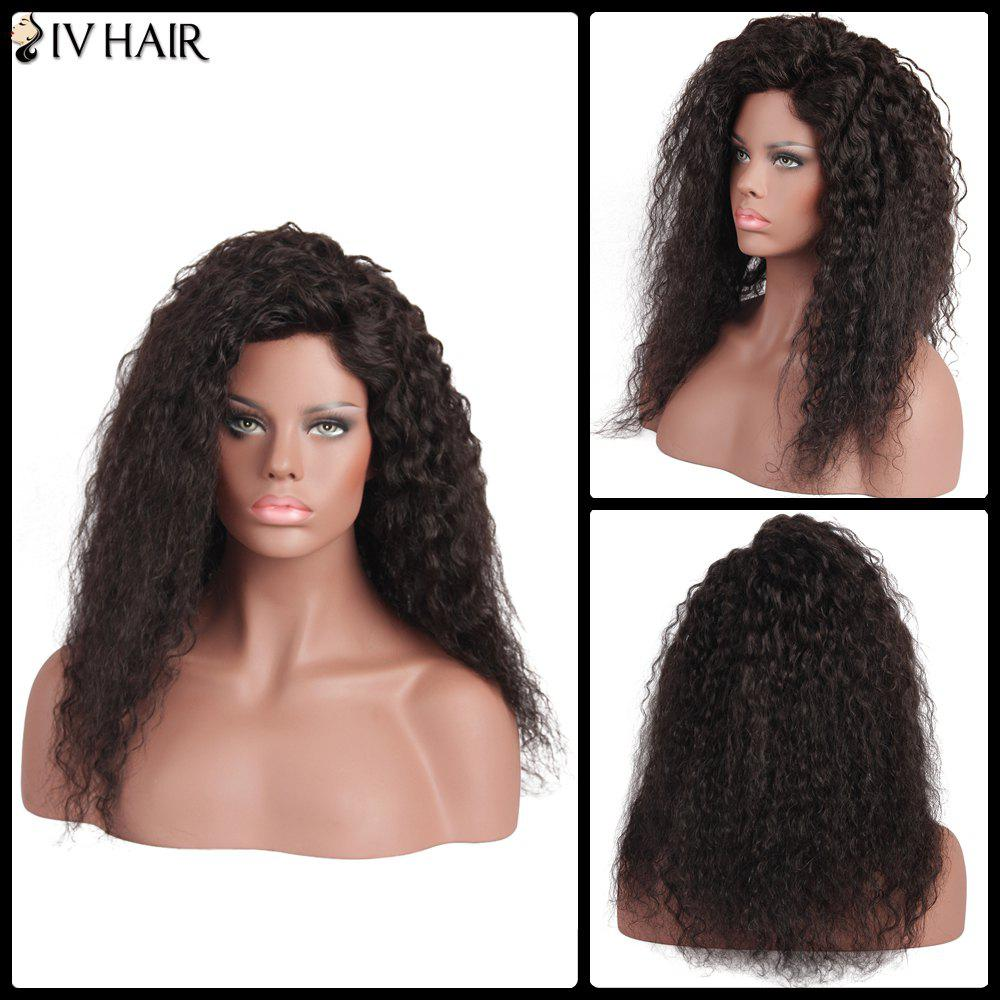 Siv Hair Curly Long Front Lace Human Hair Wig trendy women s siv hair curly lace front human hair wig