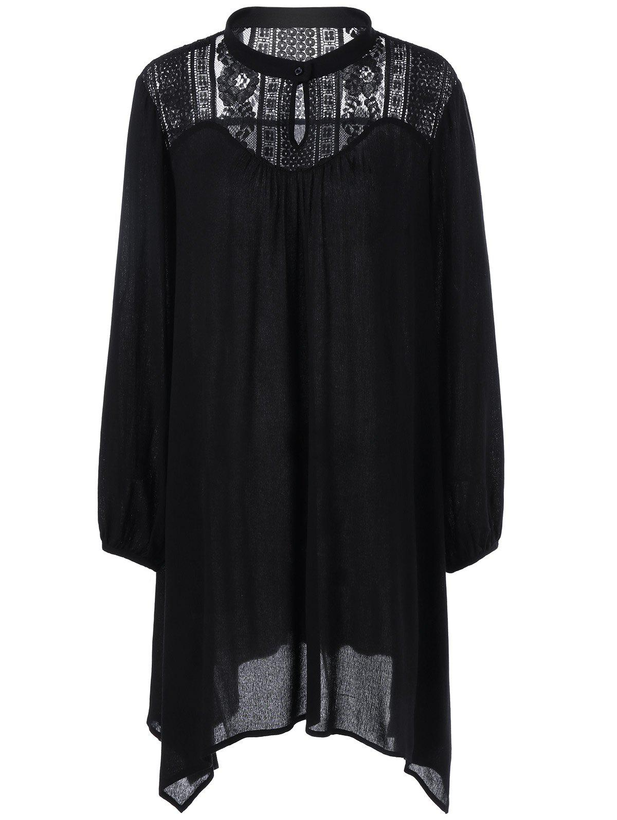 Plus Size Lace Trim Longline Smock Blouse lace trim embroidered smock top