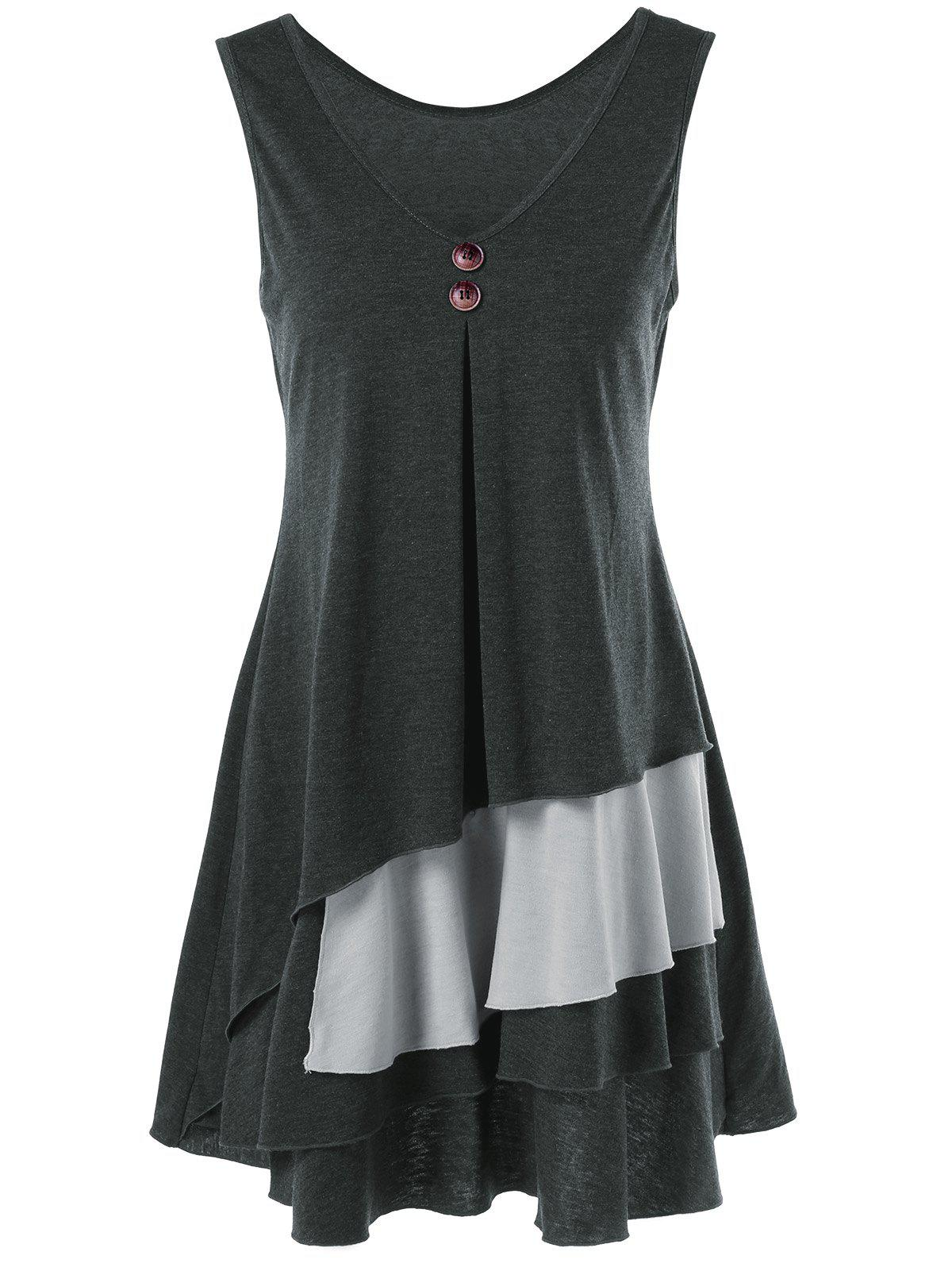 Layered Longline T-Shirt with Button - BLACK/GREY XL