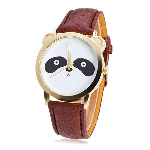 Faux Leather Panda Quartz Watch - COFFEE