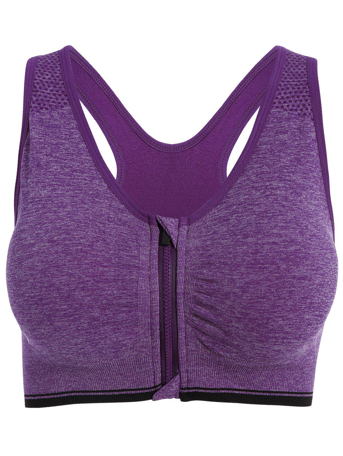 Zipper rembourrée Sports Bra - Pourpre L