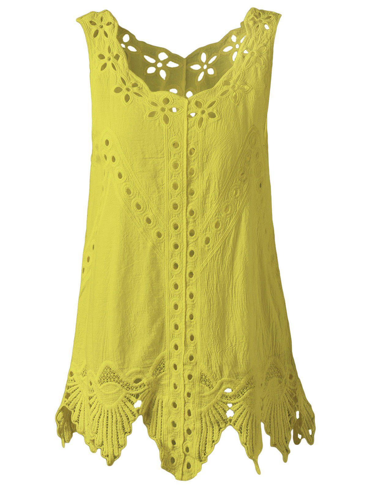 Bohemian Women's Scoop Neck Solid Color Crochet Sleeveless Blouse цена и фото
