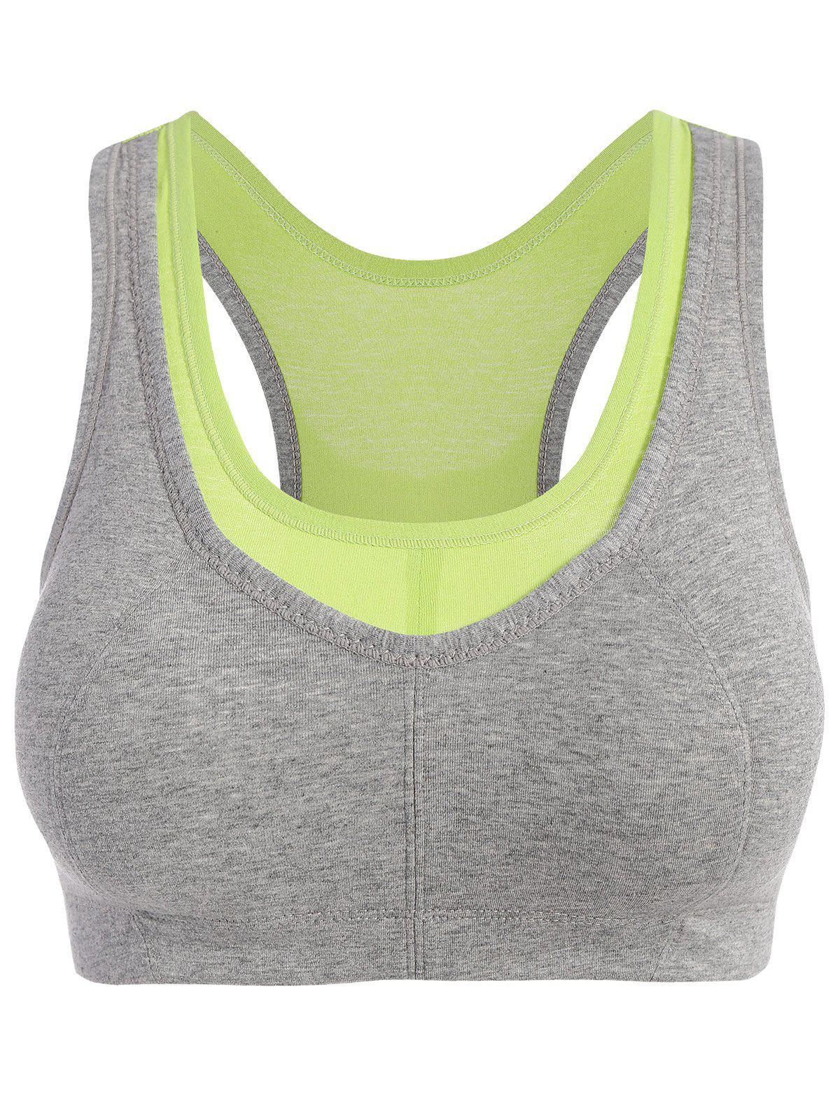 Padded Two Tone Racerback Sports Bra - CRYSTAL GREEN XL