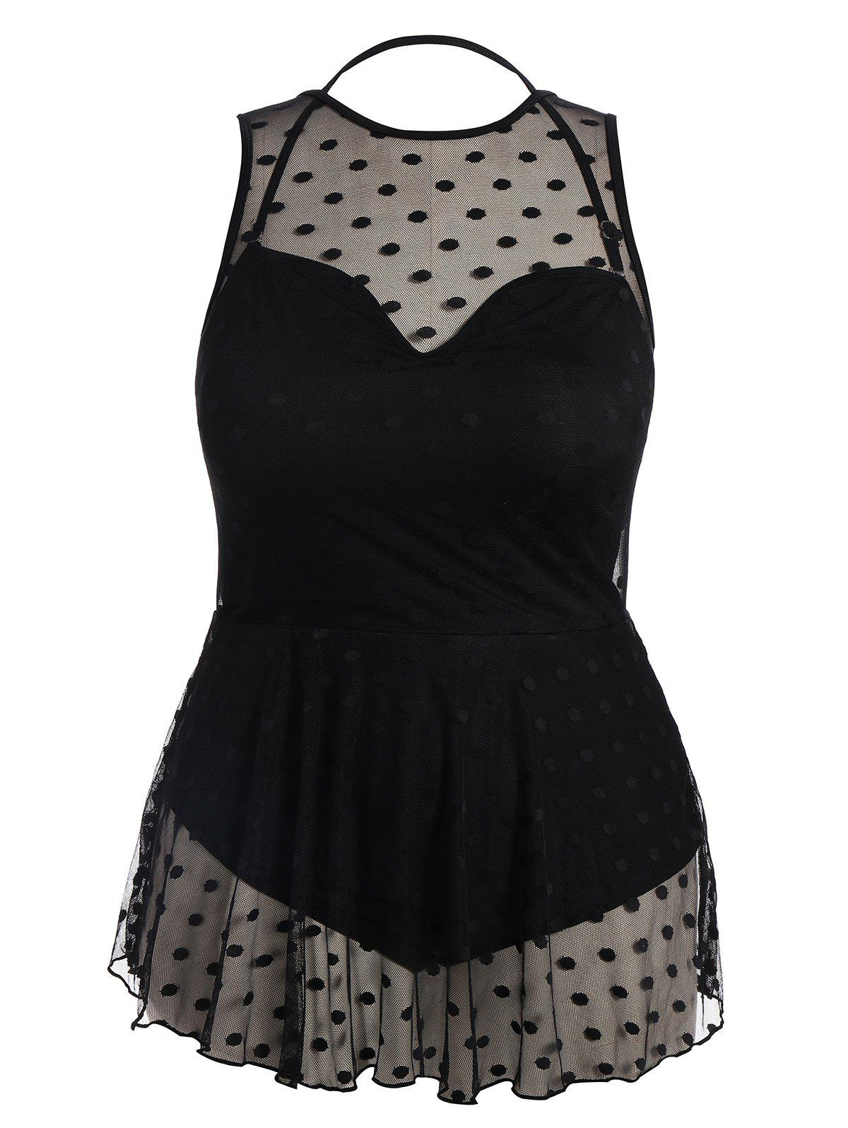 Plus Size Padded Mesh Skirted One Piece Swimsuit - BLACK 2XL
