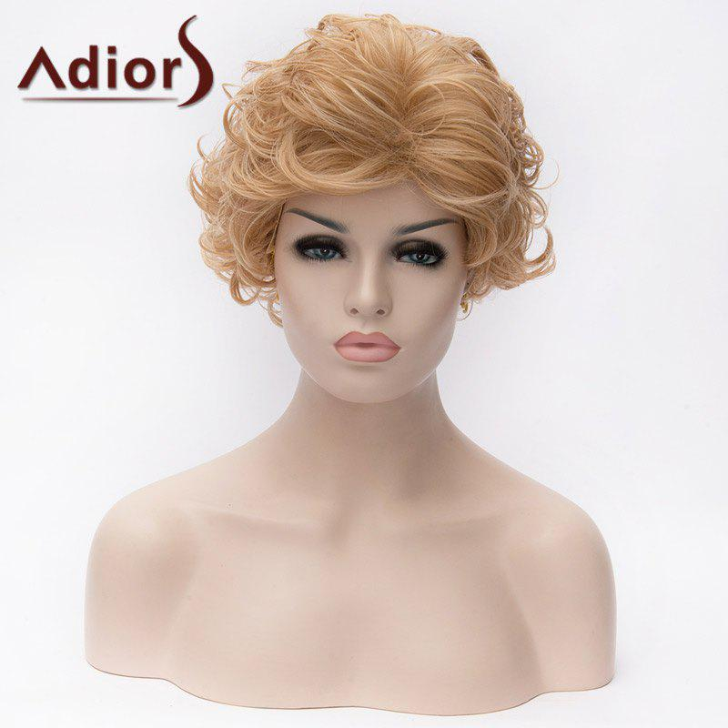 Adiors Short Layered Cut Curled Side Bang Fluffy Synthetic Wigs adiors layered slightly curled side bang short synthetic hair