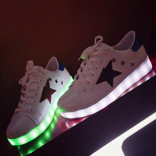 Led Luminous Eyelets Athletic Shoes - WHITE 42