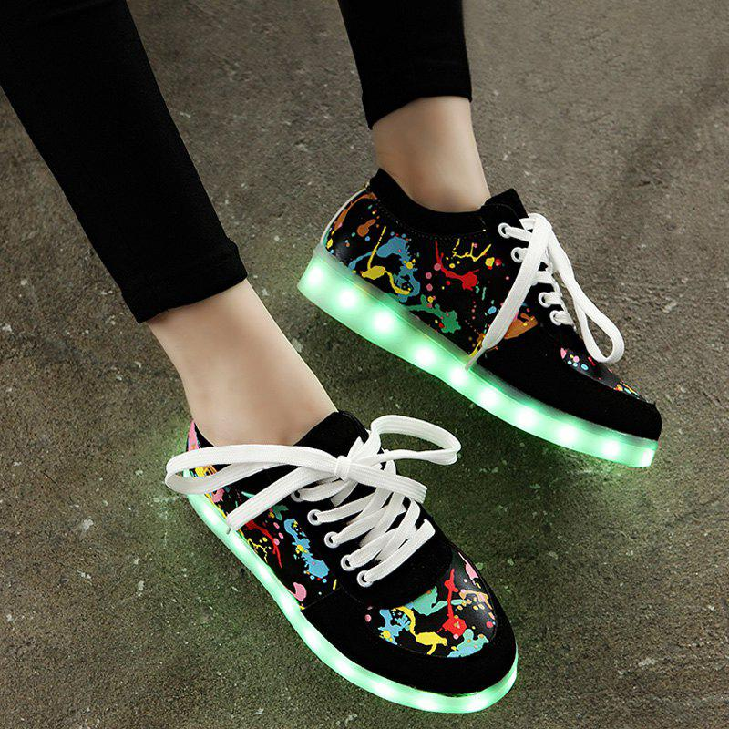 Led Luminous Graffiti Athletic Shoes - BLACK 42