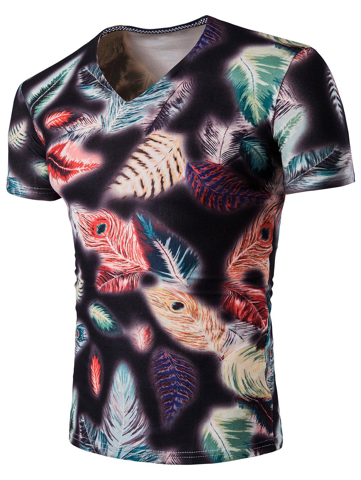 Feather Imprimer V Neck T-Shirt - multicolorcolore 2XL