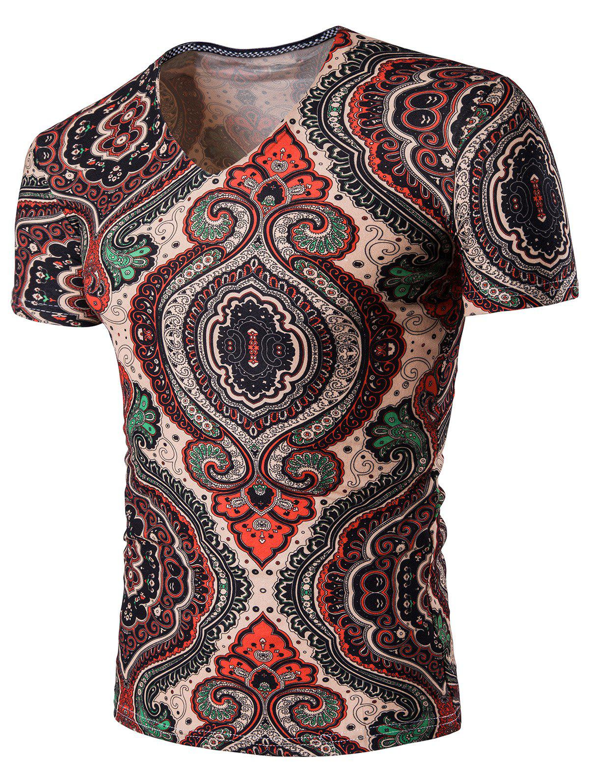 Tribal Print V Neck T-Shirt - multicolore 3XL