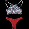 Trendy Floral Print High Neck Women's Bikini Set - RED L