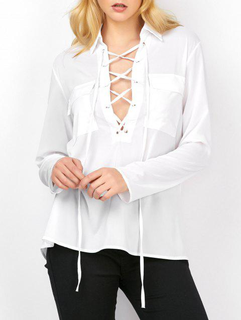 Poches Sheer Semi Lace Up Blouse - Blanc S