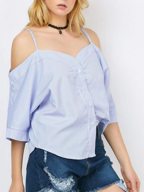 Spaghetti Strap Stripe Button Up Top - BLUE XL