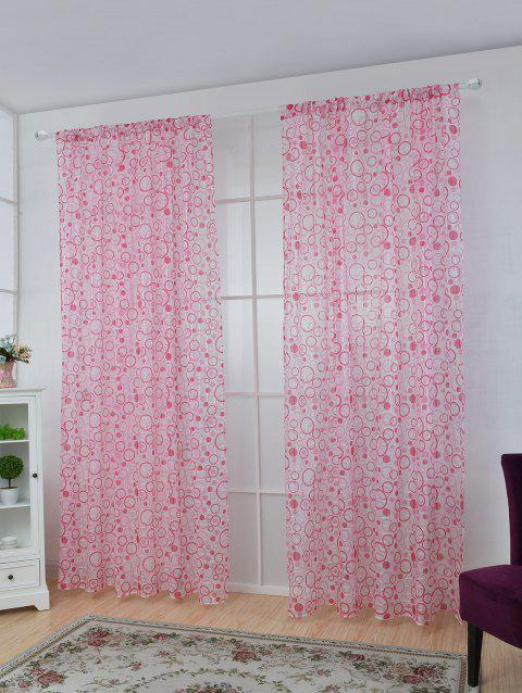 Multi Circle Embroidered Sheer Tulle Curtain - PINK 100*250CM