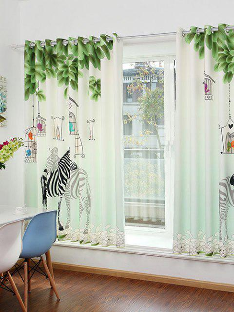 Zebra Animal Print Screening Window Curtain - CLOVER 150*200CM