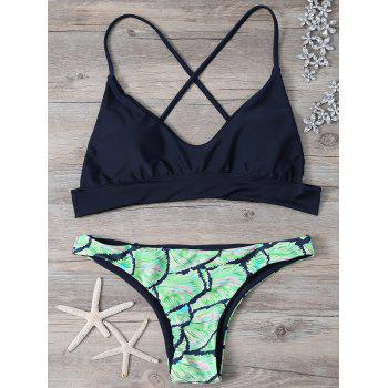 Cross Back Cami Printed Bikini Set