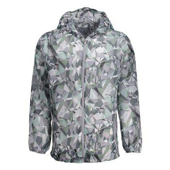 Hooded Printed Lightweight Skin Windbreaker