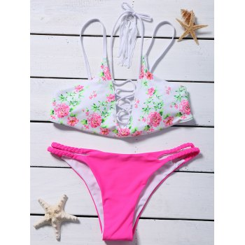 Lace Up Flower Cut Out Bikini
