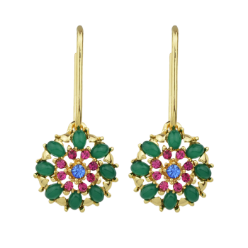 Flower Rhinestone Hollow Out Drop Earrings
