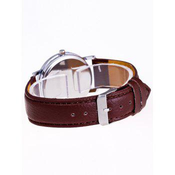 Faux Leather Analog Quartz Watch - BROWN