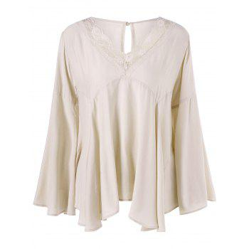 Lace Trim Flare Sleeve Smock Blouse