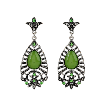 Faux Gem Teardrop Filigree Earrings