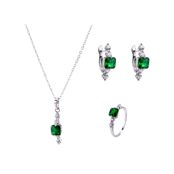 Artificial Emerald Necklace Ring and Earrings