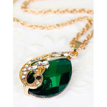 A Suit of Rhinestone Faux Crystal Peacock Necklace Ring and Earrings - GREEN