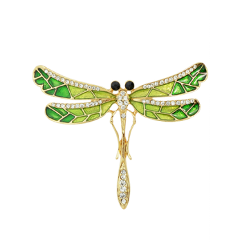 Rhinestone Dragonfly Shape Brooch - GREEN GREEN