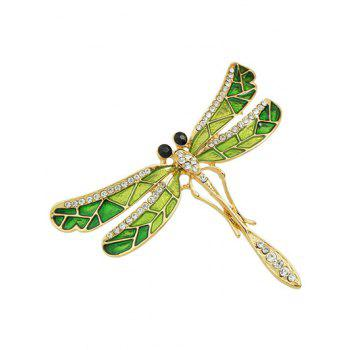 Rhinestone Dragonfly Shape Brooch -  GREEN