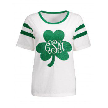 Varsity Striped Three Leaf Clover Pattern Tee