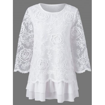 Floral Lace Layered Longline Blouse