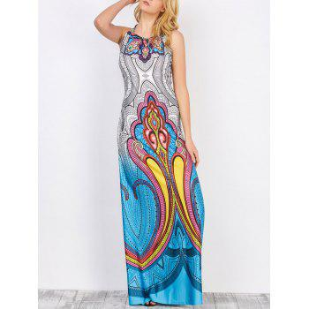 Halter Neck Backless Tribal Print Floor Length Long Dress