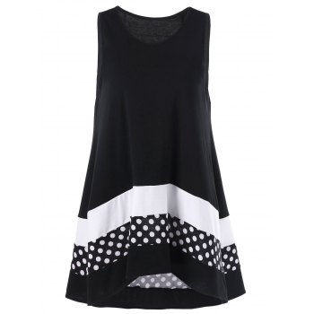 Plus Size Polka Dot Sleeveless Tunic Top
